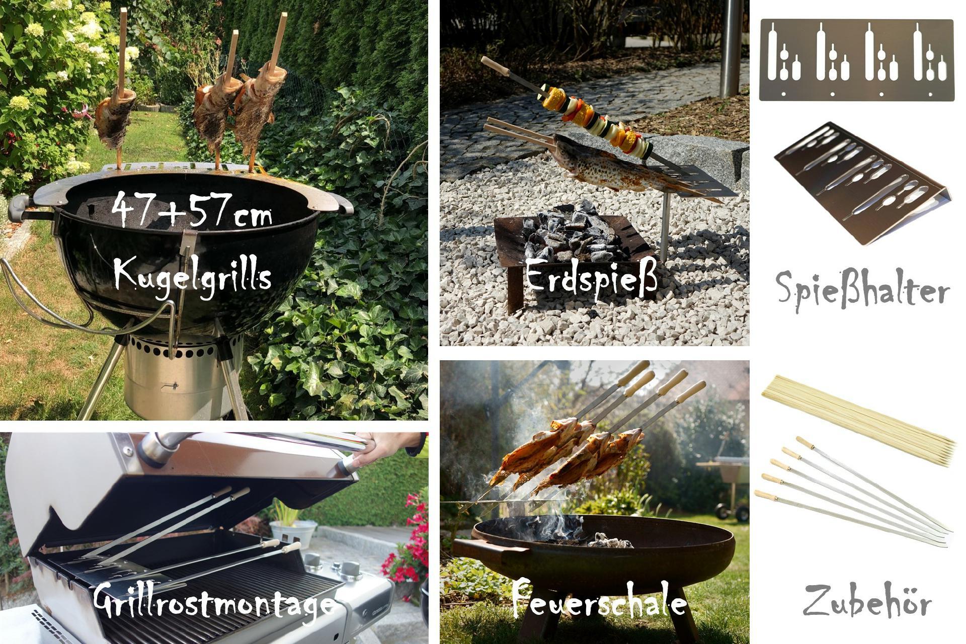 Spiesshalter-Steckerlfisch-grill-grillen-Kugelgrill-Grillaufsatz-Fischhalter-Fisch-halter-Fisch-bbq-Gemuessespiesse-Fleischspiesse-Stockbrot-Gadget-Weber-grill-57-Aufsatz-Spiesse-S