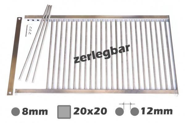 8mm-Stäbe / 20x20mm / LW12mm / zerlegbar / Grillrost nach Maß Edelstahl Rost